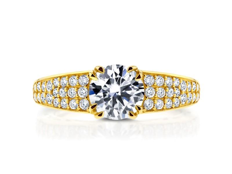 Round Diamond Engagement Ring 1 2/5 Carat (ctw) in 14K Yellow Gold
