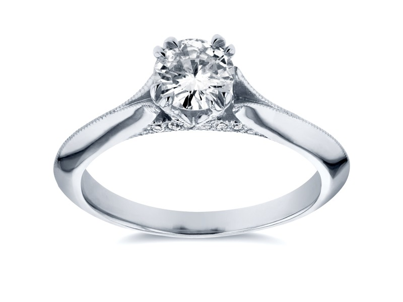 Antique Floral Diamond Engagement Ring 1/2 CTW in 14k White Gold