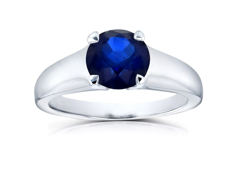 Classic Round Blue Sapphire Solitaire Ring 1 Carat in 14k White Gold