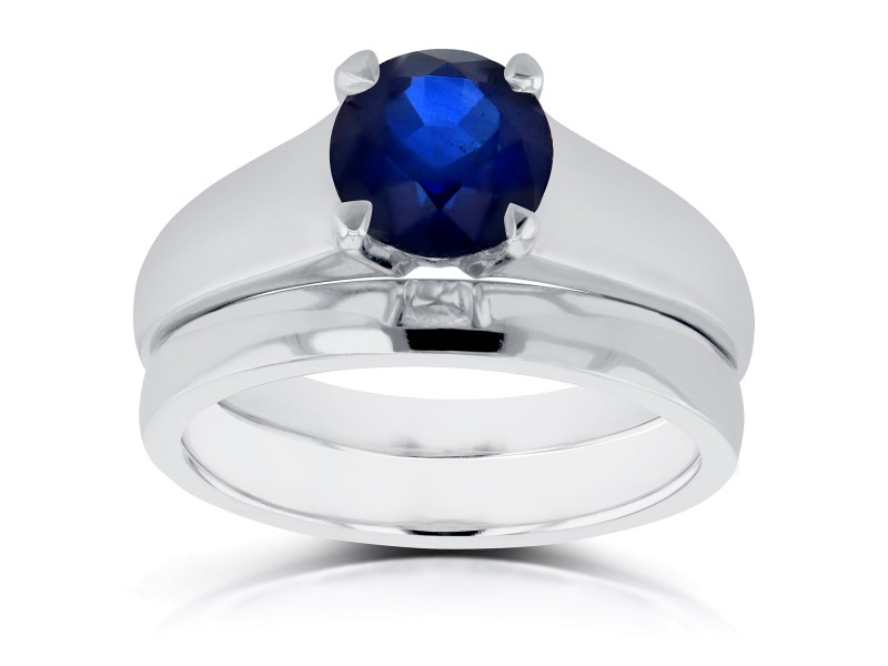 Classic Round Blue Sapphire Solitaire Bridal Set 1 Carat in 14k White Gold