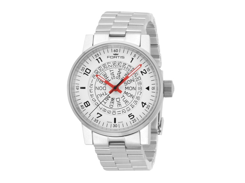 Fortis White Silver Stainless Steel Bracelet 623.10.52 M Watch