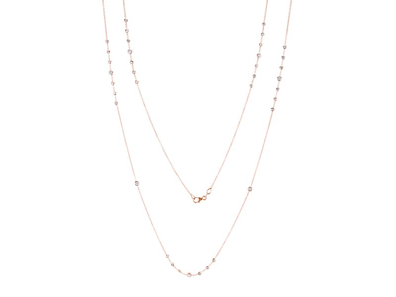 Diamond 30 Inch Station Necklace 1 1/2 CTW 14k Rose Gold
