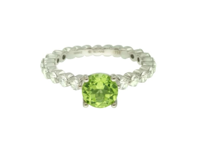 Ritani 18K White Gold Peridot .72ctw Diamond Ring Size 6.5