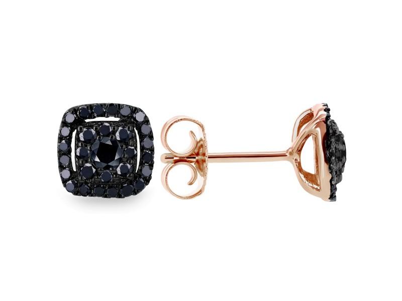 Black Diamond Halo Stud Earrings 1/3 CTW 14k Black and Rose Gold