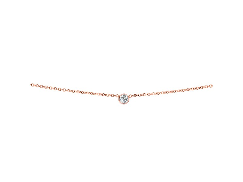 White Diamond Bezel Necklace 1/6 Carat, 14k Rose Gold, Adjustable 13 14 15 Inch