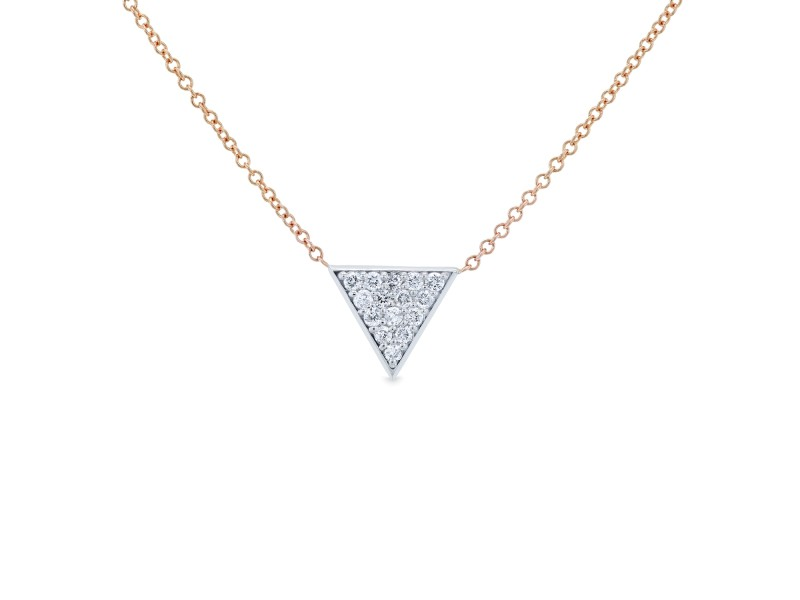 White Gold Triangle Diamond Necklace Rose Gold Chain