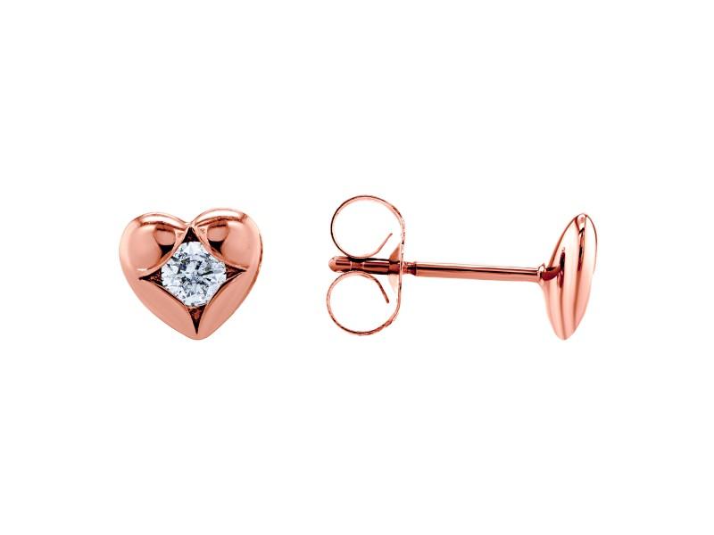Solitaire Heart Diamond Earrings 10k Rose Gold