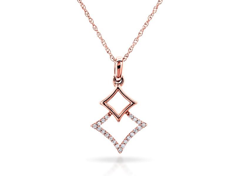Rhombus Geometric Diamond Necklace 10k Rose Gold, 18 Inch