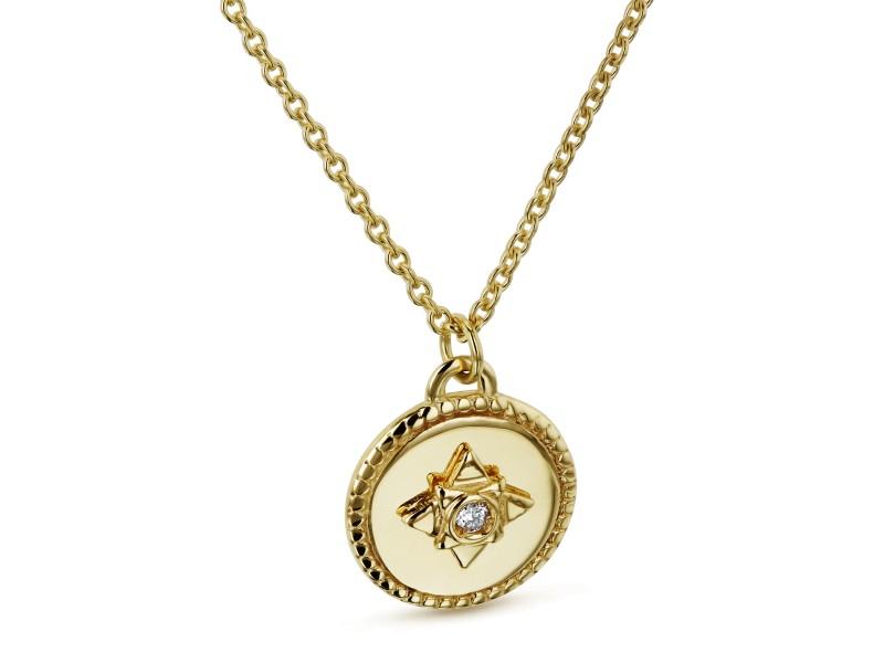 1.3pt Diamond Small Medallion Star Adjustable Necklace 14k Gold