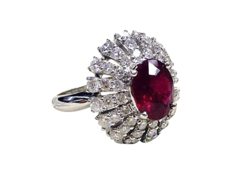 18K White Gold Ruby & 2.57ct Diamond Cocktail Ring Size 7