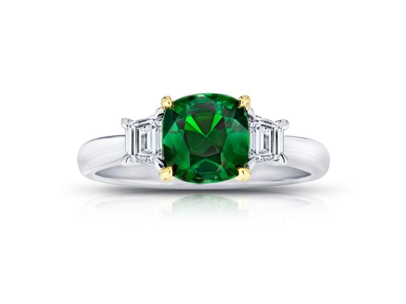 Platinum 18K Yellow Gold 1.93ct. Tsavorite 0.40ctw. Diamond Ring Size 7