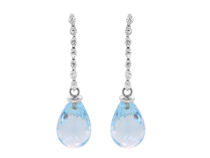 Roberto Coin Diamond and Blue Topaz Drop Earrings