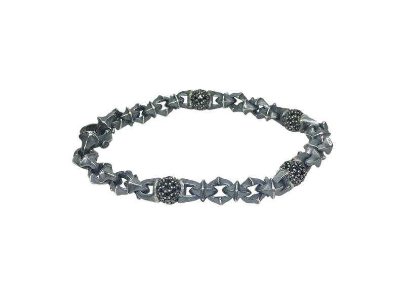 David Yurman Sterling Silver With 2 75ct Black Diamond Armory Bracelet