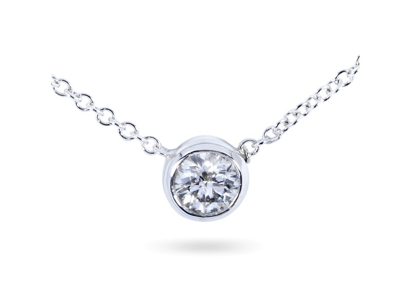 Diamond Bezel Solitaire Pendant 5/8 Carat in 14K White Gold
