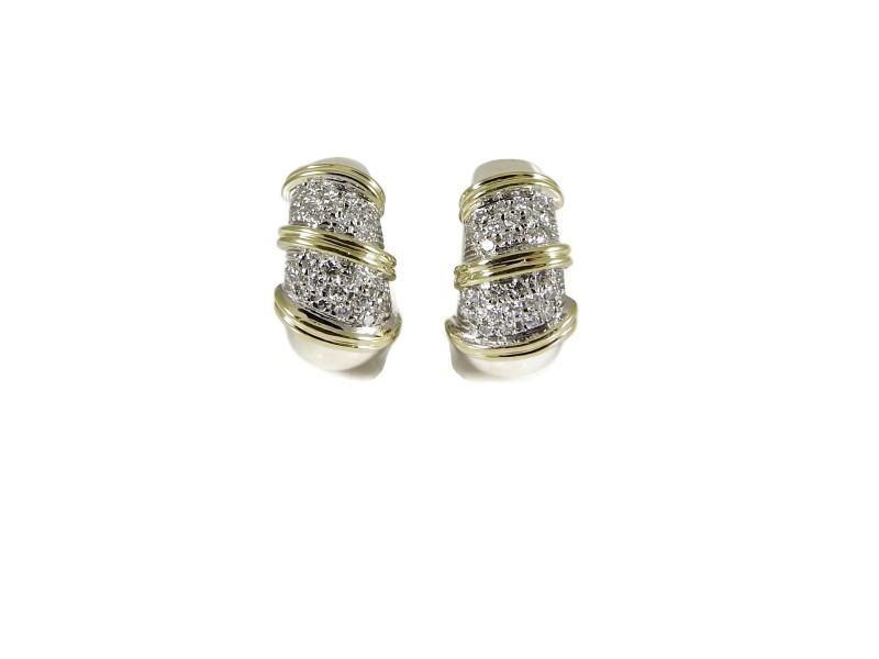 Roberto Coin Huggie 18K White and Yellow Gold 1.00tcw Diamond Earrings