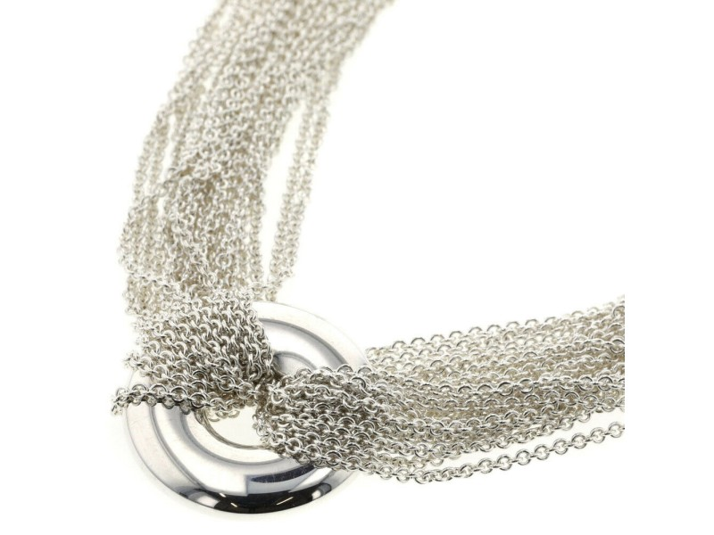 TIFFANY & Co. Silver Round 10 low Necklace