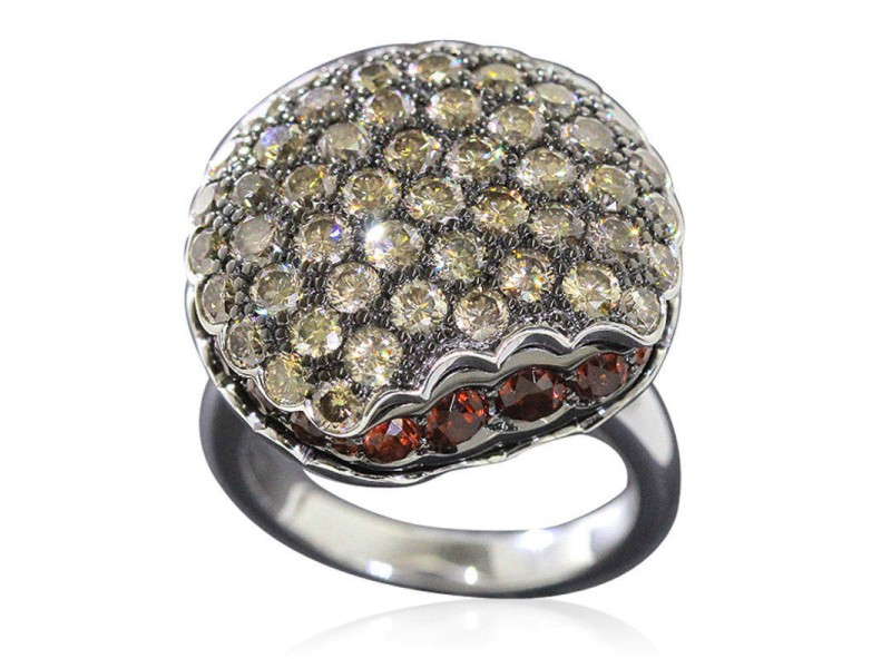 Boucheron White 18k Gold Macaron Garnet Brown Diamond Ring