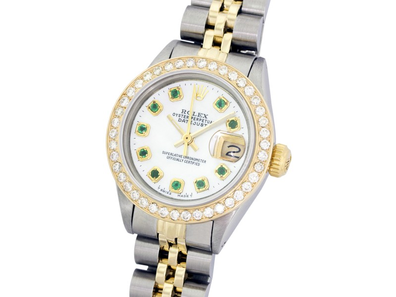 Rolex Ladies Datejust Stainless Steel and 18K Gold MOP Diamond and Emerald Watch