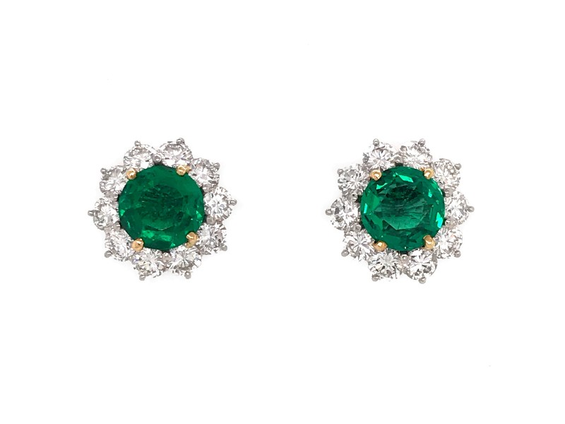 Cartier Platinum Diamond and Emerald Cluster Earrings
