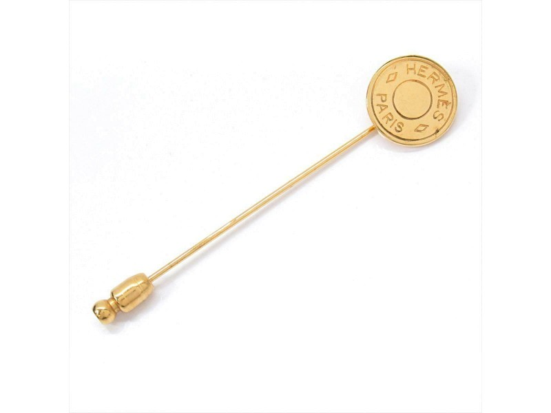HERMES Gold plated Sellier pin brooch RCB-99