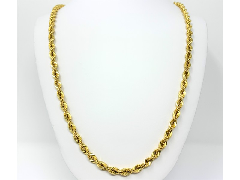 14K Yellow Gold Hollow Rope Chain Necklace