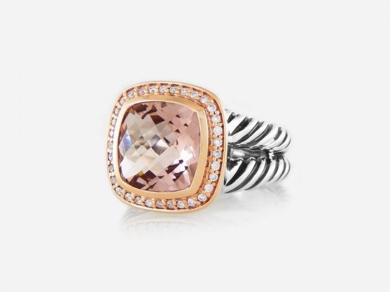 David Yurman Silver & 18k Rose Gold Morganite 11mm Albion Ring