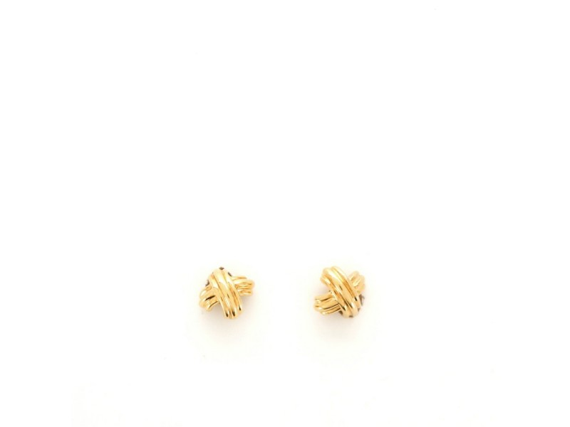 Tiffany & Co. Signature X Clip-On Earrings 18K Yellow Gold