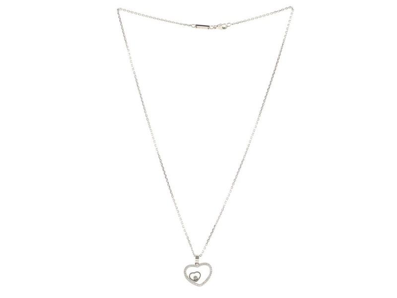 Chopard Happy Diamonds Heart Pendant Necklace 18K White Gold with Diamonds