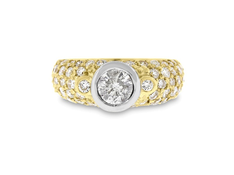 14k Yellow Gold 2.55tcw Round Diamond Bezel Set Pave Domed Engagement Ring Size 7