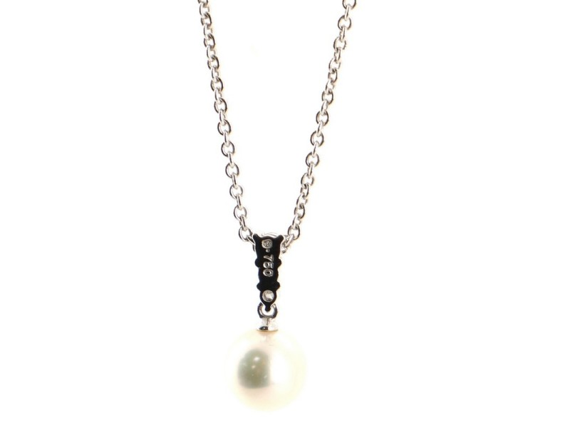 Mikimoto Morning Dew Pendant Necklace 18K White Gold with Diamonds and Akoya Cultured Pearl 8mm