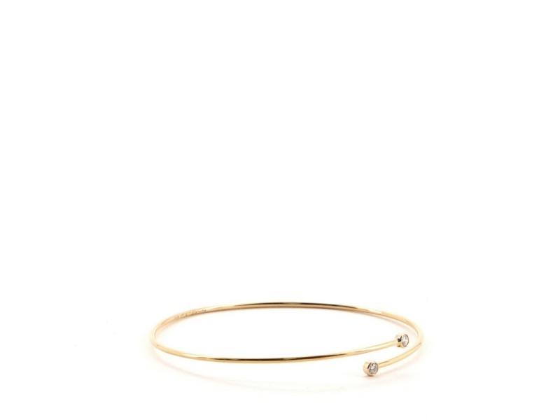 Tiffany & Co. Peretti Hoop Single-Row Bangle Bracelet 18K Rose Gold with Diamonds