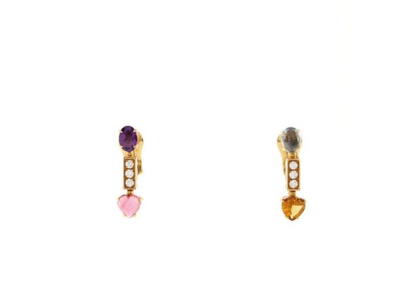 Bvlgari Allegra Pendant Drop Earrings 18K Yellow Gold with Amethyst, Citrine, Topaz, Tourmaline, and Pave Diamonds Short