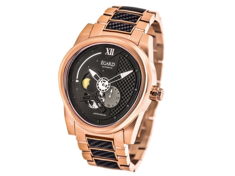 Egard Rose Gold and Black Dial 43mm Mens Watch