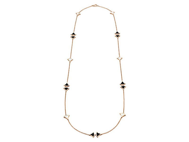 Bvlgari 18K Rose Gold Mother of Pearl and Black Onyx David Dream Necklace CL856967