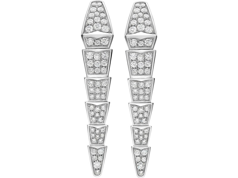 Bvlgari 18k White Gold And Diamond Serpenti Earrings Or856498