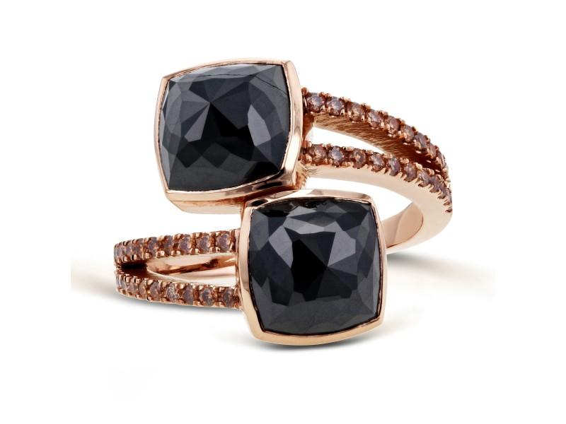 2-Stone Black & Champagne Diamond Split Shank Bypass Fashion Ring 5 3/5ct TDW in 18k Rose Gold