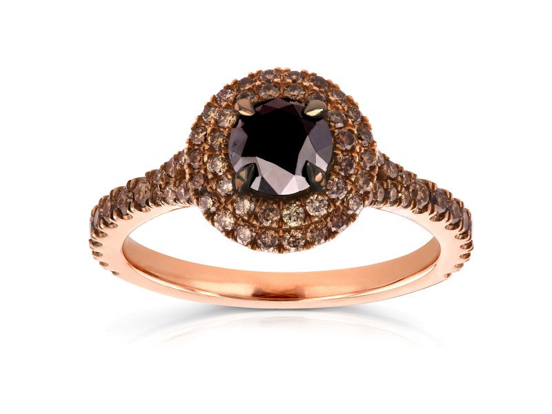 18k Rose Gold Black and Champagne Diamond Double Halo Ring 1 1/2 CTW - 7.5