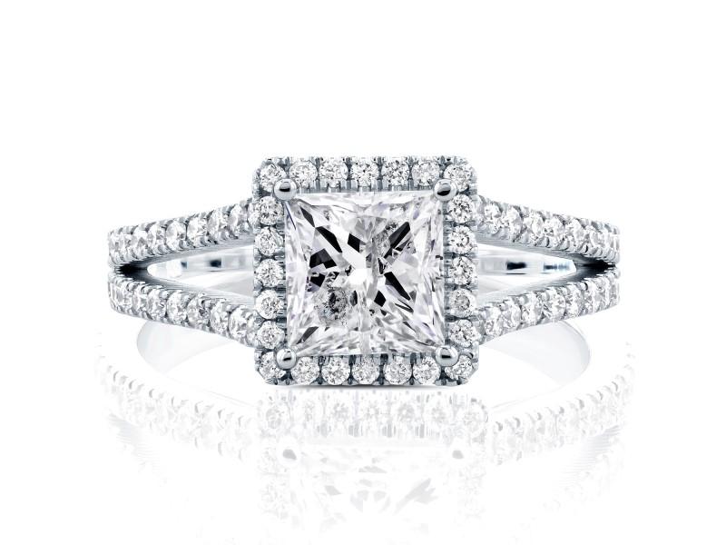 Princess Diamond Halo Split Shank Ring 2 1/4 CTW in 14k White Gold (Certified) - 8.0