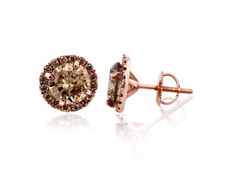 Champagne Diamond Halo Stud Earrings 2 4/5 CTW in 18K Rose Gold
