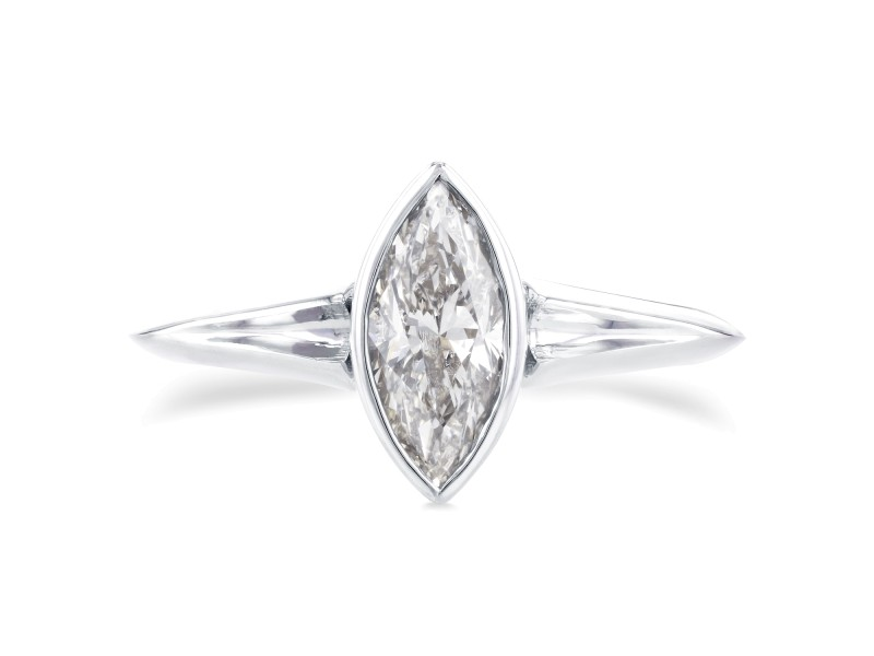 Solitaire Marquise Diamond Bezel Ring in 1 1/10 CTW 14k White Gold - 8.0