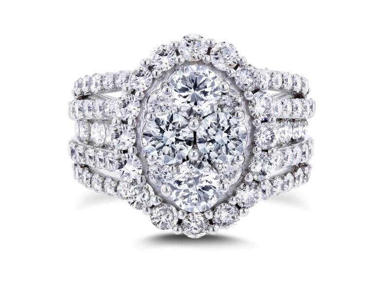 Oval Cluster Diamond Engagement Ring 3 CTW 14k White Gold - 7.5