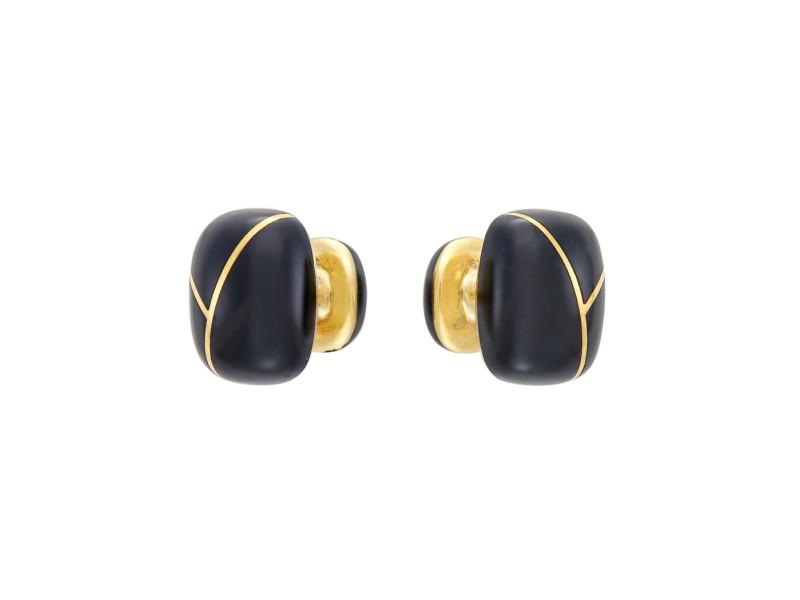 Tiffany & Co. 18K Yellow Gold & Black Enamel Cufflinks