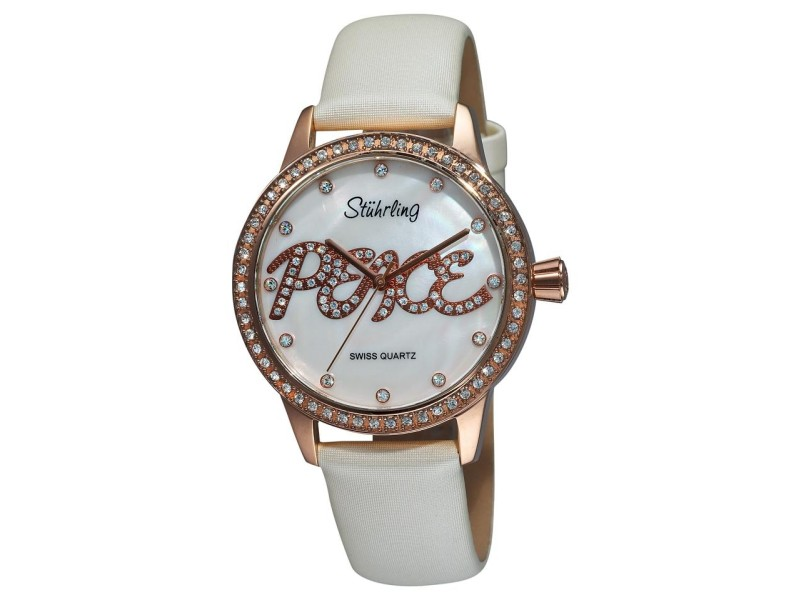 Stuhrling Peace 519P.1145P7 Rose-Tone Stainless & Leather MOP 38mm Watch
