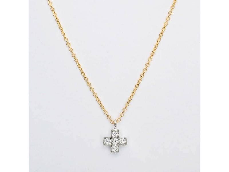 TIFFANY & Co. 18k gold/platinum/Diamond Crucy form Necklace