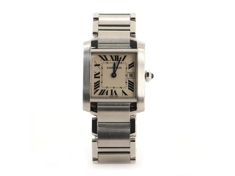 Cartier Tank Francaise Quartz Watch Stainless Steel and Alligator 25
