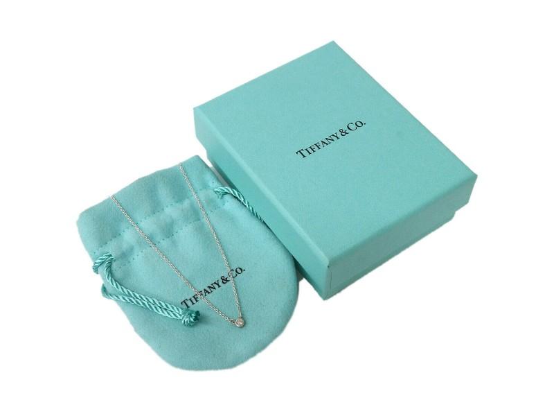 Tiffany&Co. 925  Silver /Diamond  Elsa Peretti Diamond by the Yard Necklace