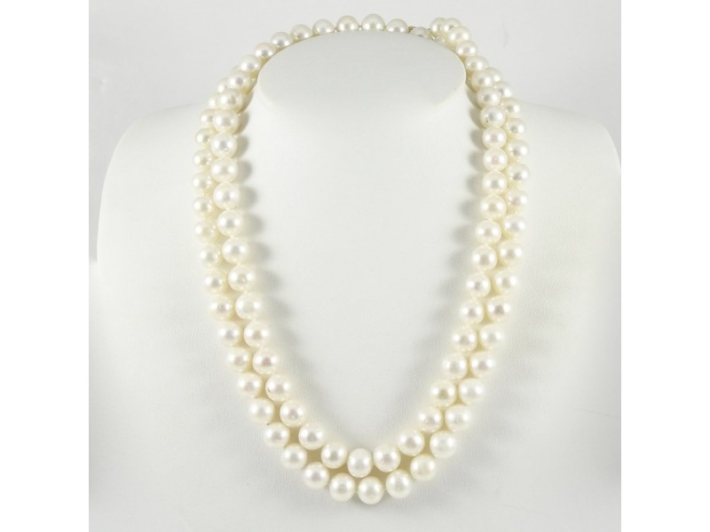 """14K Yellow Gold Ball Clasp 37"""" 8.5-9mm Freshwater Pearl Strand Necklace"""