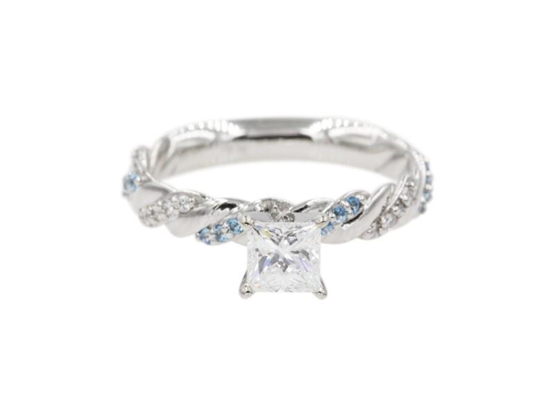 Platinum with 0.50ct Princess Cut Diamond & Blue Topaz Twisted Vine Engagement Ring Size 6
