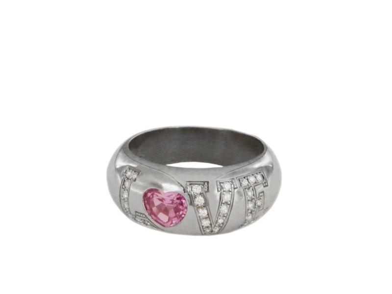 Chopard Love Diamond Pink Sapphire 18k White Gold Heart Band Ring