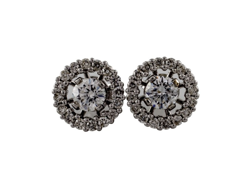 14K White Gold with 0.50ct Diamond Stud Halo Backing Earrings